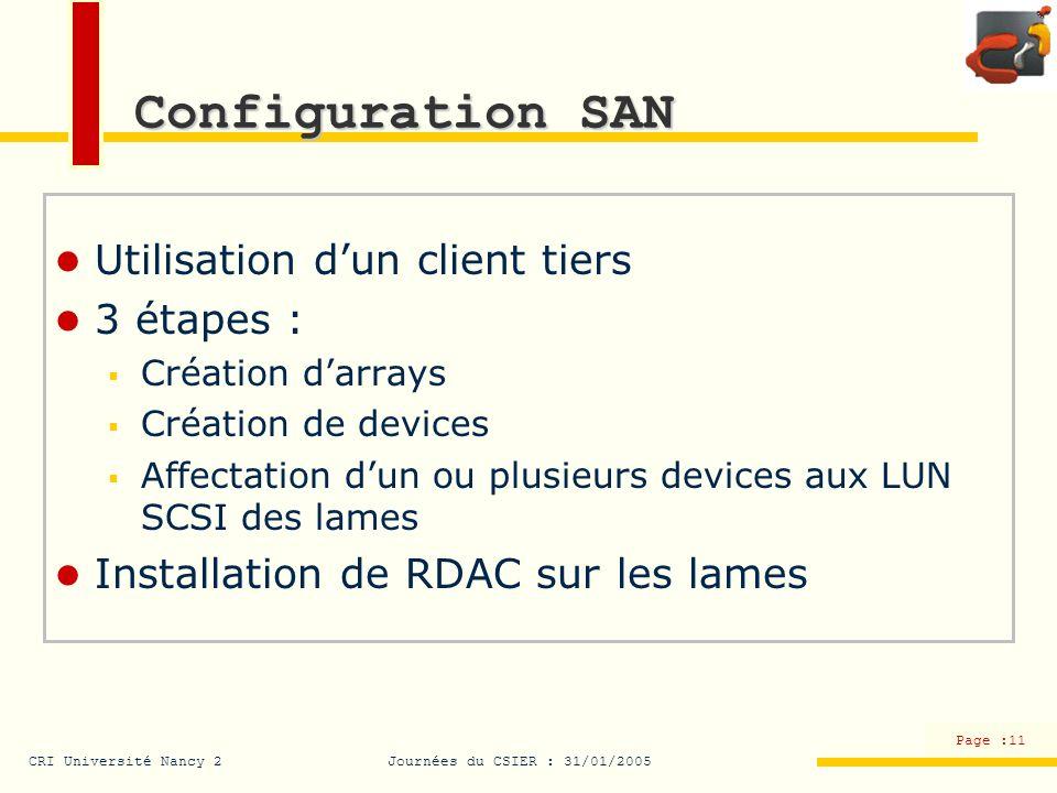 CRI Université Nancy 2Journées du CSIER : 31/01/2005 Page :11 Configuration SAN Utilisation dun client tiers 3 étapes : Création darrays Création de d