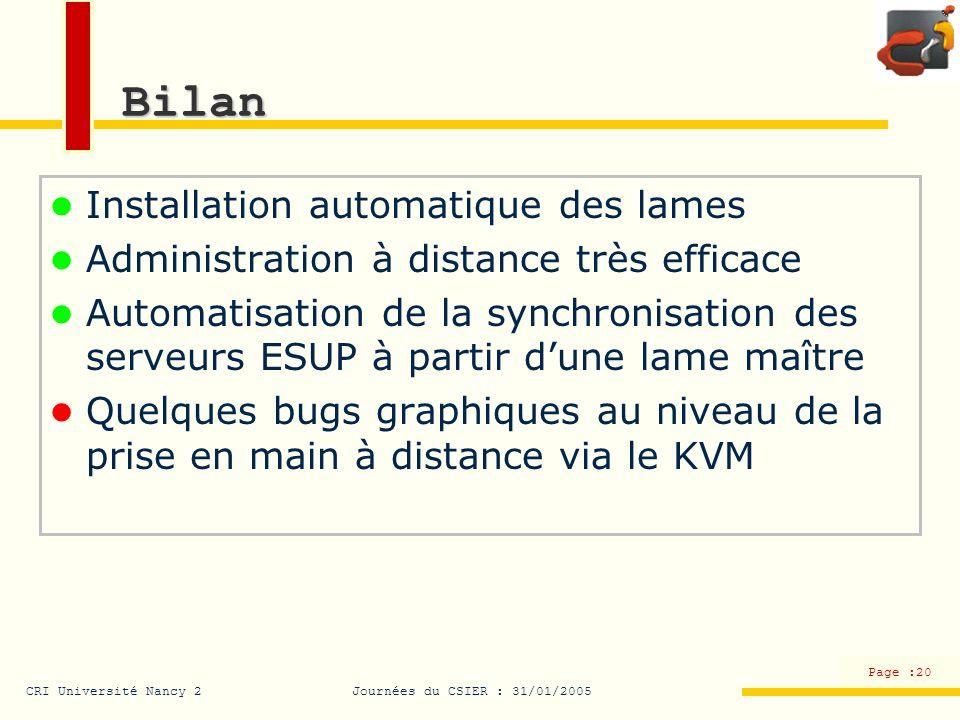 CRI Université Nancy 2Journées du CSIER : 31/01/2005 Page :20 Bilan Installation automatique des lames Administration à distance très efficace Automat
