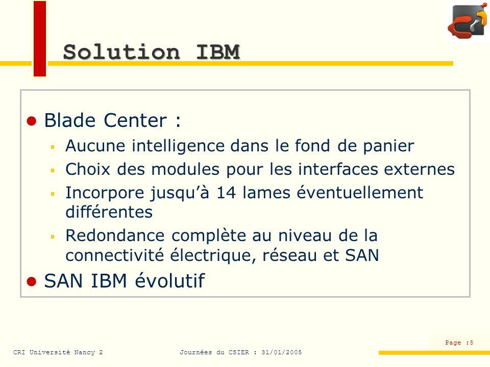 CRI Université Nancy 2Journées du CSIER : 31/01/2005 Page :5 Solution IBM Blade Center : Aucune intelligence dans le fond de panier Choix des modules