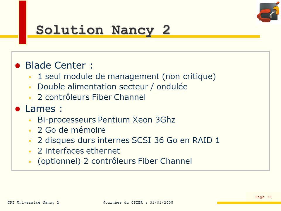 CRI Université Nancy 2Journées du CSIER : 31/01/2005 Page :7 Solution Nancy 2 Réseau : 2 switchs Nortel Alteon configurables jusquà la couche 7 du modèle OSI (load balancing) SAN : IBM Fast T 600 2 contrôleurs Fiber Channel 20 emplacements pour des disques SCSI (10 occupés par des disques 140 Go soit 1 To en ligne en RAID 5) Possibilité dajouter deux baies supplémentaires pouvant contenir soit des disques SCSI (performances) soit des disques SATA (prix, volume)