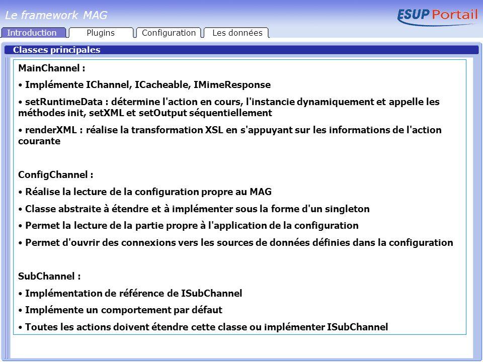 Classes principales MainChannel : Implémente IChannel, ICacheable, IMimeResponse setRuntimeData : détermine l action en cours, l instancie dynamiquement et appelle les méthodes init, setXML et setOutput séquentiellement renderXML : réalise la transformation XSL en s appuyant sur les informations de l action courante ConfigChannel : Réalise la lecture de la configuration propre au MAG Classe abstraite à étendre et à implémenter sous la forme d un singleton Permet la lecture de la partie propre à l application de la configuration Permet d ouvrir des connexions vers les sources de données définies dans la configuration SubChannel : Implémentation de référence de ISubChannel Implémente un comportement par défaut Toutes les actions doivent étendre cette classe ou implémenter ISubChannel IntroductionPluginsConfigurationLes données Le framework MAG