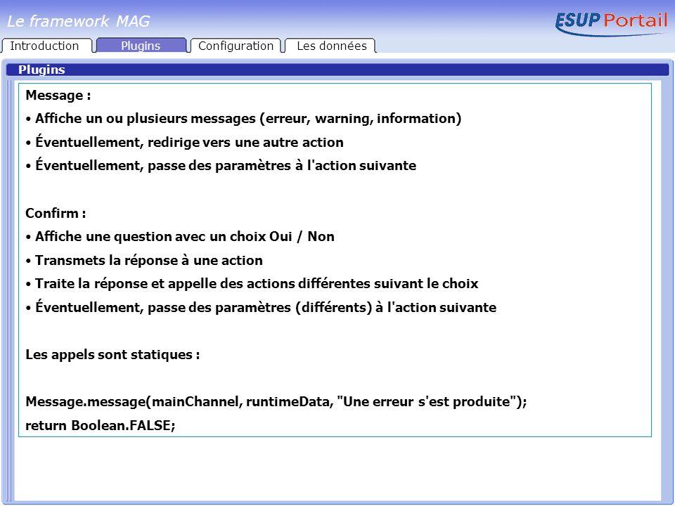 Plugins Message : Affiche un ou plusieurs messages (erreur, warning, information) Éventuellement, redirige vers une autre action Éventuellement, passe
