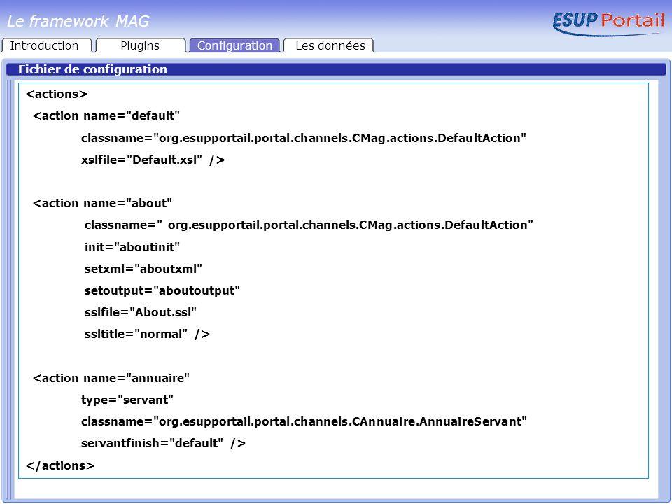 Fichier de configuration <action name= default classname= org.esupportail.portal.channels.CMag.actions.DefaultAction xslfile= Default.xsl /> <action name= about classname= org.esupportail.portal.channels.CMag.actions.DefaultAction init= aboutinit setxml= aboutxml setoutput= aboutoutput sslfile= About.ssl ssltitle= normal /> <action name= annuaire type= servant classname= org.esupportail.portal.channels.CAnnuaire.AnnuaireServant servantfinish= default /> IntroductionPluginsConfigurationLes données Le framework MAG