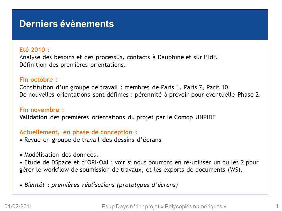 01/02/2011Esup Days n°11 : projet « Polycopiés numériques » Derniers évènements Eté 2010 : Analyse des besoins et des processus, contacts à Dauphine e