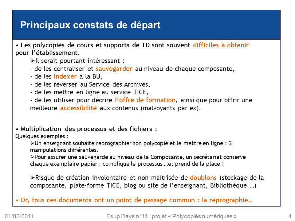 01/02/2011Esup Days n°11 : projet « Polycopiés numériques » Principaux constats de départ Les polycopiés de cours et supports de TD sont souvent diffi