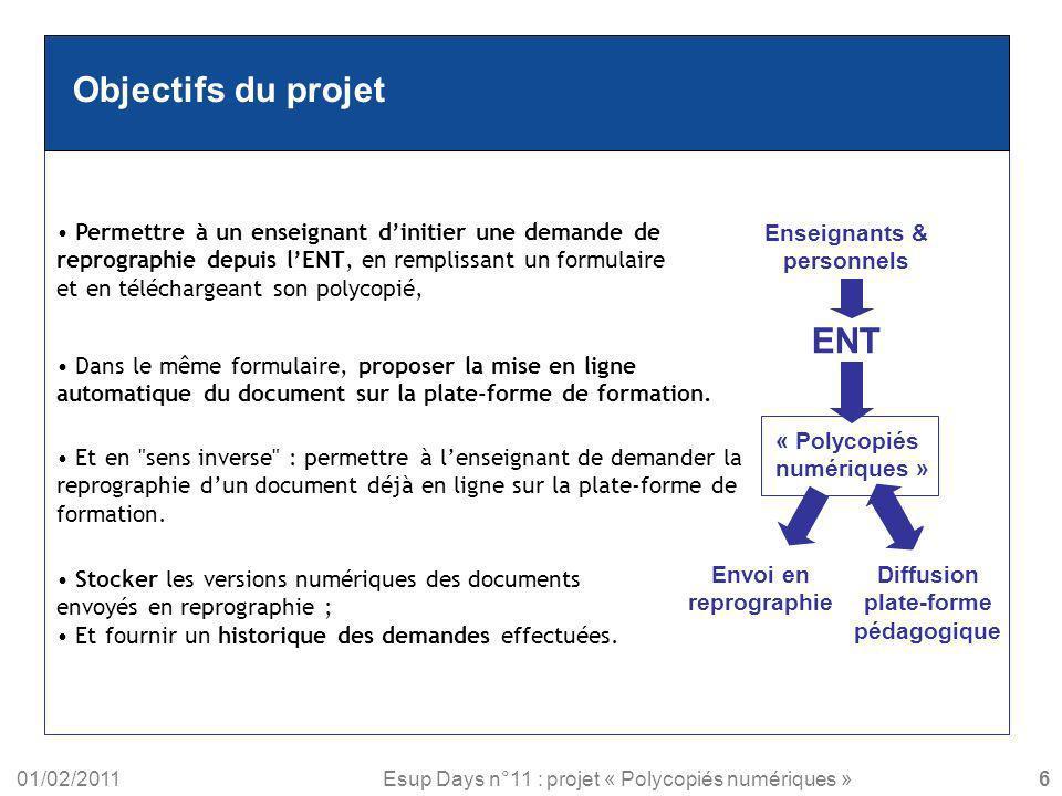 01/02/2011Esup Days n°11 : projet « Polycopiés numériques » Objectifs du projet Permettre à un enseignant dinitier une demande de reprographie depuis