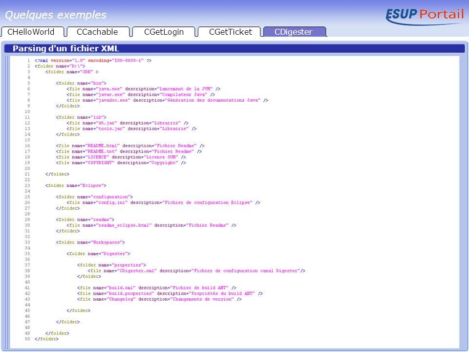 CHelloWorld Parsing d'un fichier XML CCachableCGetLoginCGetTicketCDigester Quelques exemples