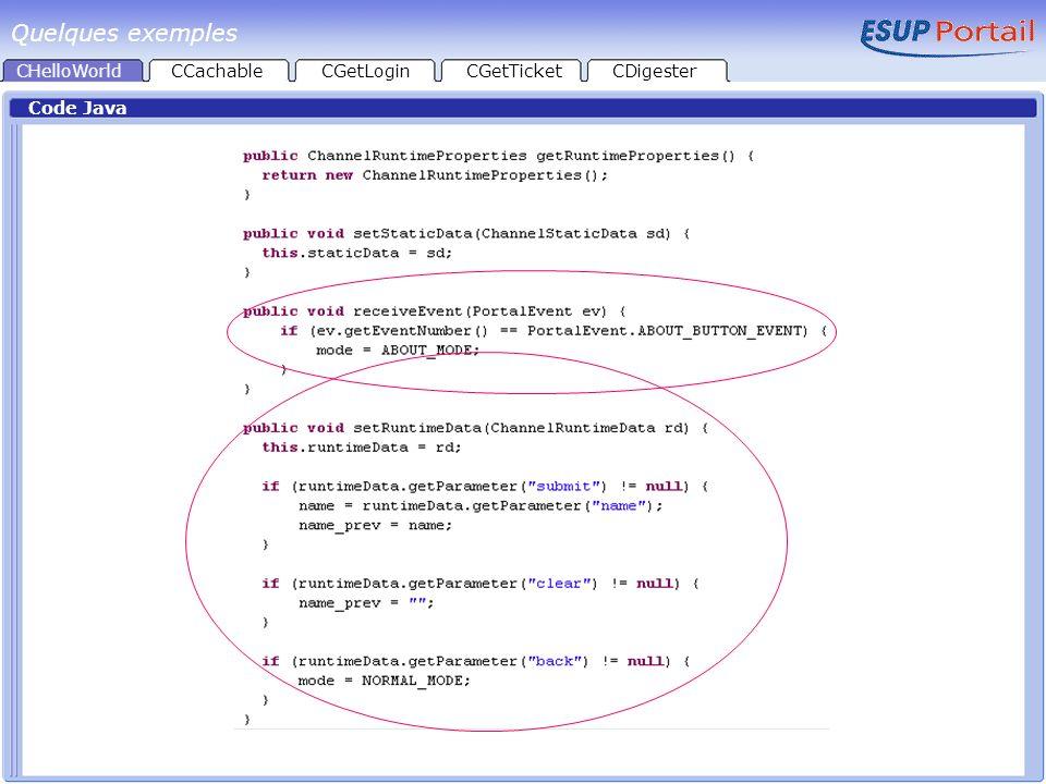 CHelloWorld Code Java CCachableCGetLoginCGetTicketCDigester Quelques exemples