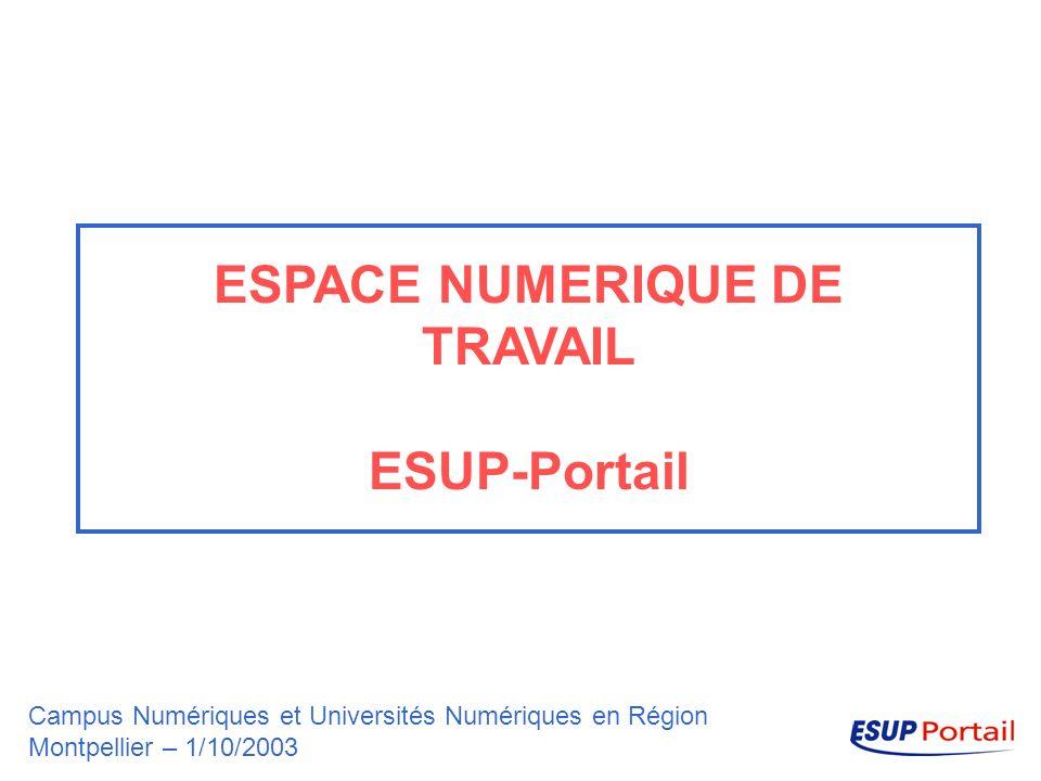 ESPACE NUMERIQUE DE TRAVAIL ESUP-Portail Campus Numériques et Universités Numériques en Région Montpellier – 1/10/2003