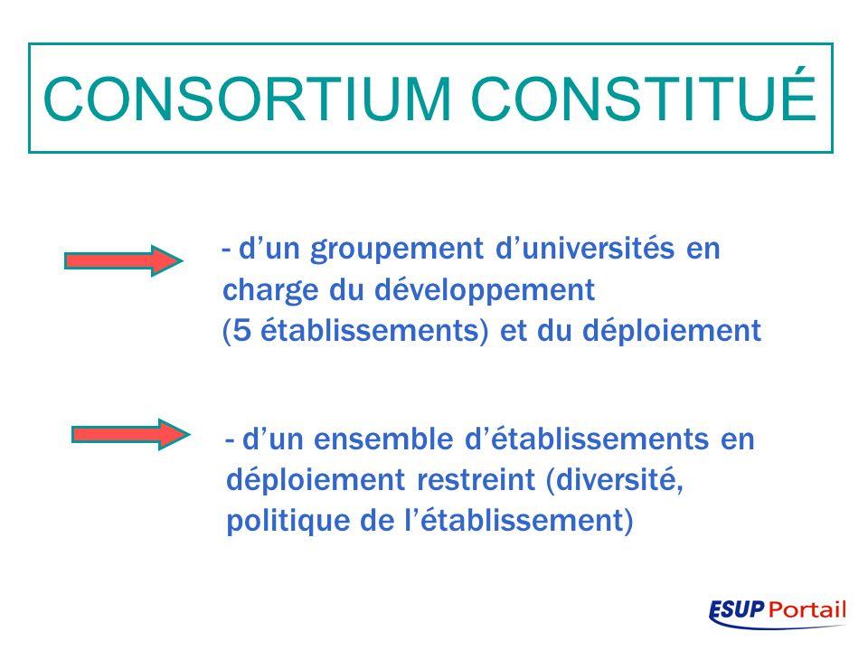 CONSORTIUM CONSTITUÉ - dun groupement duniversités en charge du développement (5 établissements) et du déploiement - dun ensemble détablissements en déploiement restreint (diversité, politique de létablissement)