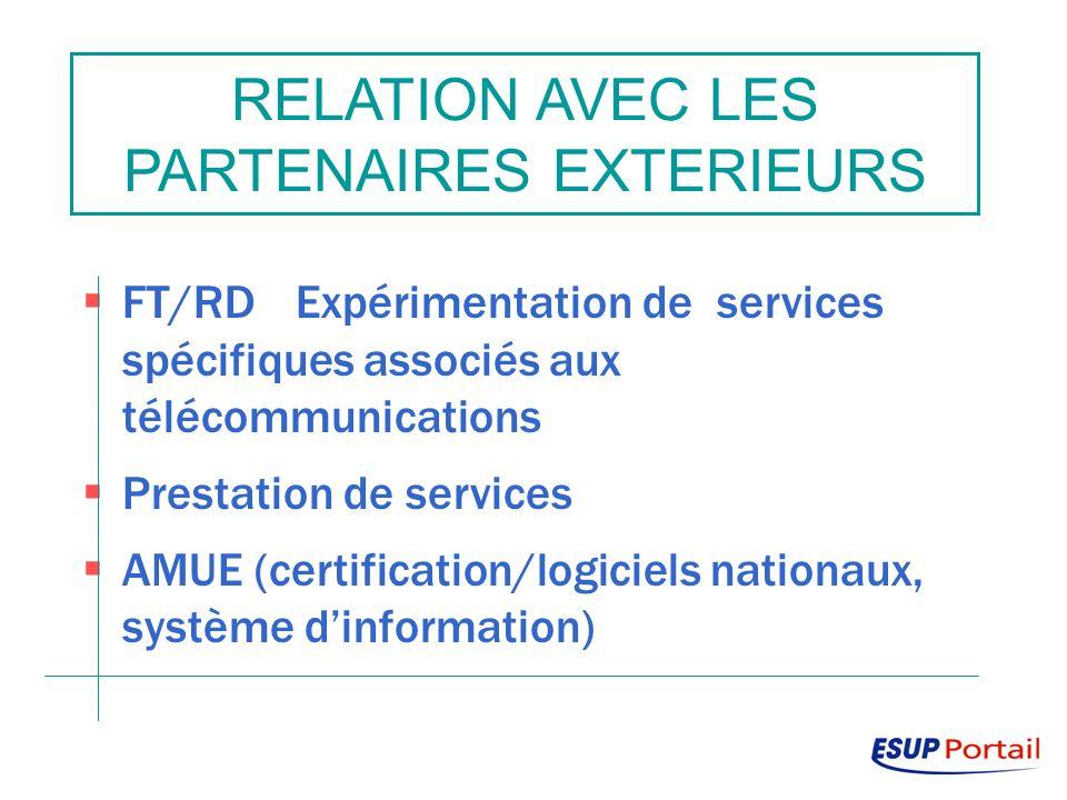 RELATION AVEC LES PARTENAIRES EXTERIEURS FT/RDExpérimentation de services spécifiques associés aux télécommunications Prestation de services AMUE (certification/logiciels nationaux, système dinformation)