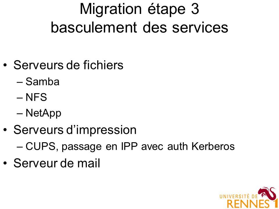 Migration étape 3 basculement des services Serveurs de fichiers –Samba –NFS –NetApp Serveurs dimpression –CUPS, passage en IPP avec auth Kerberos Serv