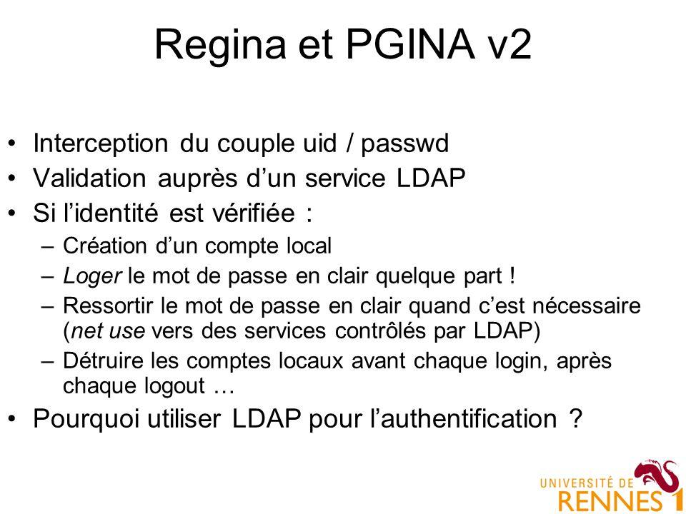 Regina et PGINA v2 Interception du couple uid / passwd Validation auprès dun service LDAP Si lidentité est vérifiée : –Création dun compte local –Loge