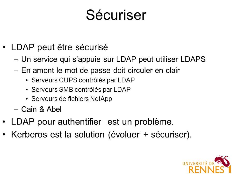 Sécuriser LDAP peut être sécurisé –Un service qui sappuie sur LDAP peut utiliser LDAPS –En amont le mot de passe doit circuler en clair Serveurs CUPS