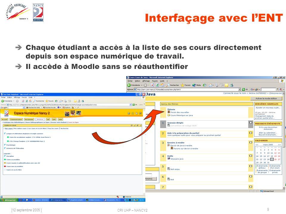 [12 septembre 2005 ] CRI UHP – NANCY2 9 Interfaçage avec lENT Chaque étudiant a accès à la liste de ses cours directement depuis son espace numérique de travail.