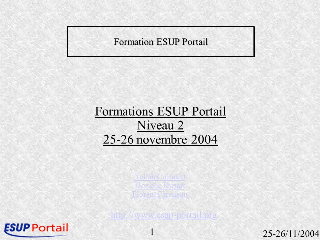 52 25-26/11/2004 Définition Définition dun fichier xml Placement du fichier pubcanal.xml dans uPortal_DEPLOY-HOME/properties/chanpub ant uportal.pubchan -Dchannel= pubcanal.xml (pour publier tous les canaux ant pubchan – Dchannel=all)