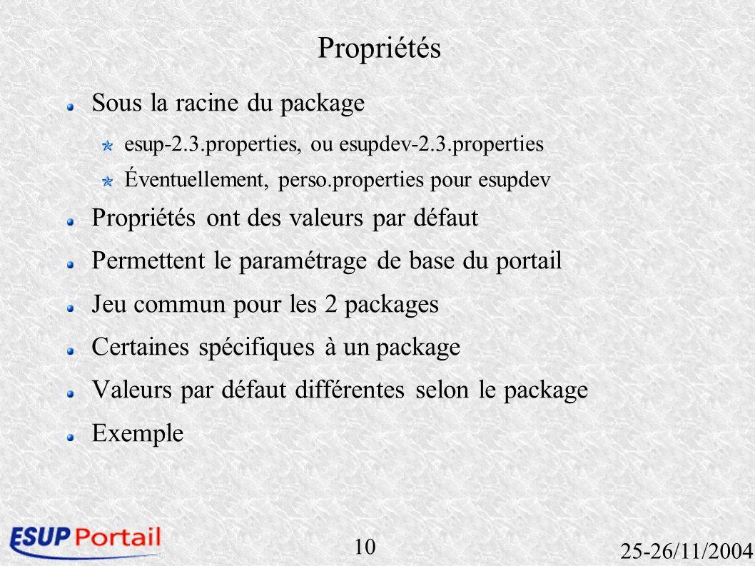 10 25-26/11/2004 Propriétés Sous la racine du package esup-2.3.properties, ou esupdev-2.3.properties Éventuellement, perso.properties pour esupdev Pro