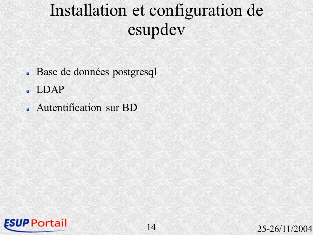 14 25-26/11/2004 Installation et configuration de esupdev Base de données postgresql LDAP Autentification sur BD