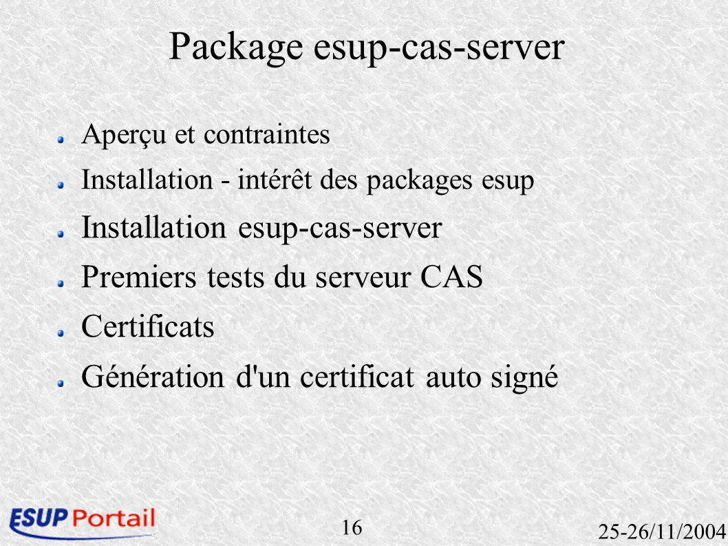 16 25-26/11/2004 Package esup-cas-server Aperçu et contraintes Installation - intérêt des packages esup Installation esup-cas-server Premiers tests du