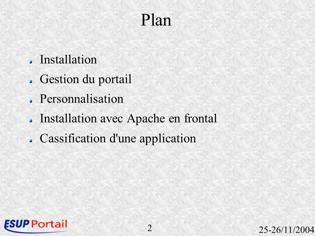 2 25-26/11/2004 Plan Installation Gestion du portail Personnalisation Installation avec Apache en frontal Cassification d'une application
