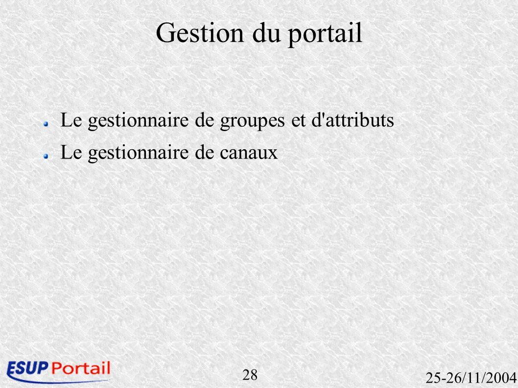 28 25-26/11/2004 Gestion du portail Le gestionnaire de groupes et d'attributs Le gestionnaire de canaux