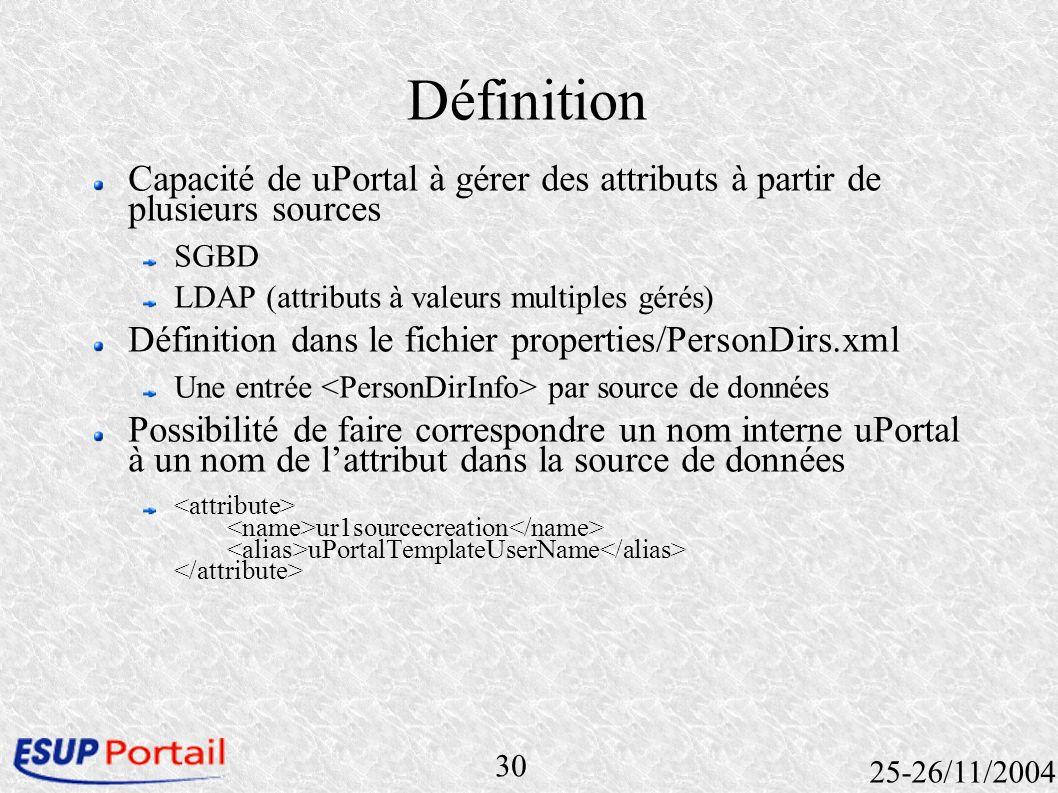30 25-26/11/2004 Définition Capacité de uPortal à gérer des attributs à partir de plusieurs sources SGBD LDAP (attributs à valeurs multiples gérés) Dé