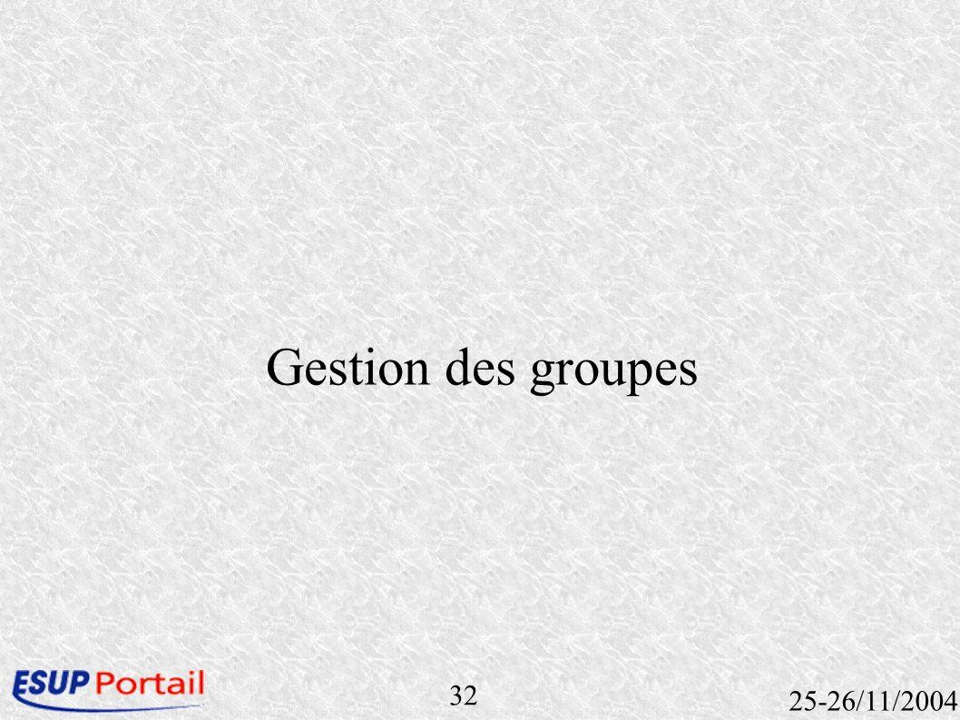 32 25-26/11/2004 Gestion des groupes