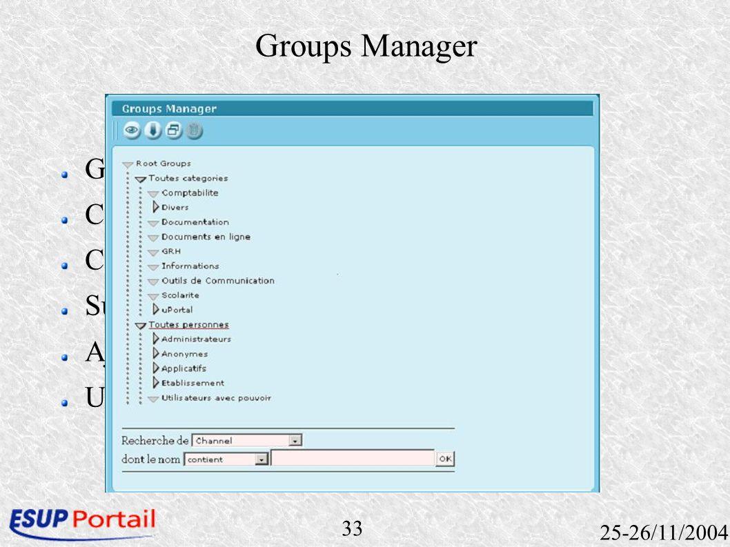 33 25-26/11/2004 Groups Manager Gestion des groupes du portail Canal inclus dans le portail Création de groupe Suppression de groupe Ajout dutilisateu