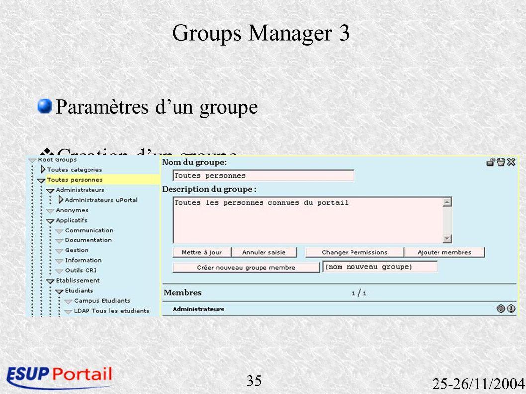 35 25-26/11/2004 Groups Manager 3 Paramètres dun groupe Creation dun groupe Ajouter un membre Groupe Personne Canal ….