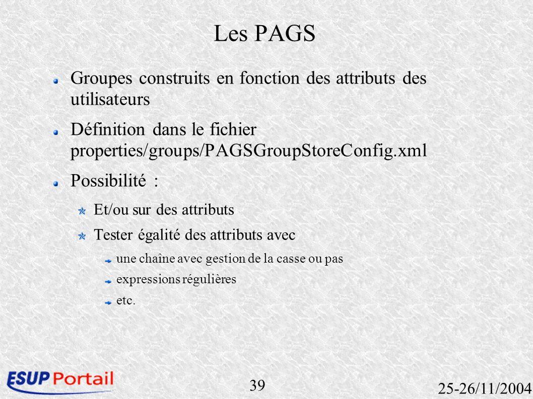 39 25-26/11/2004 Les PAGS Groupes construits en fonction des attributs des utilisateurs Définition dans le fichier properties/groups/PAGSGroupStoreCon