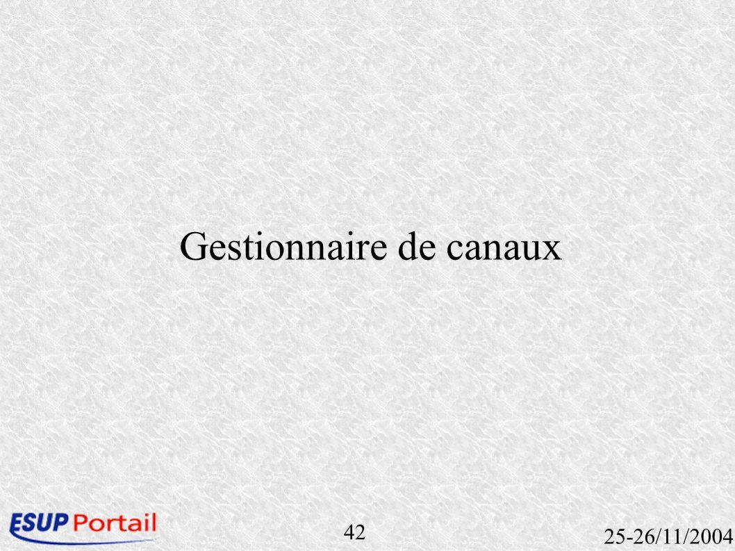 42 25-26/11/2004 Gestionnaire de canaux