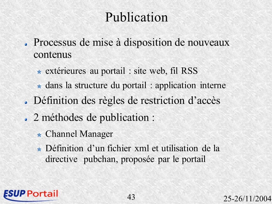43 25-26/11/2004 Publication Processus de mise à disposition de nouveaux contenus extérieures au portail : site web, fil RSS dans la structure du port