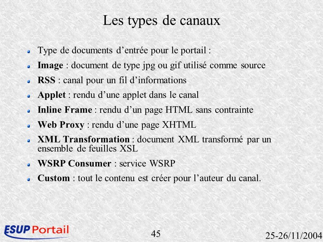 45 25-26/11/2004 Les types de canaux Type de documents dentrée pour le portail : Image : document de type jpg ou gif utilisé comme source RSS : canal
