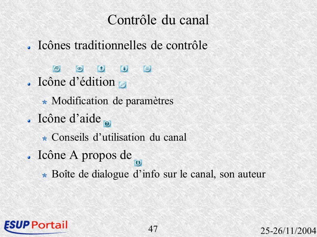 47 25-26/11/2004 Contrôle du canal Icônes traditionnelles de contrôle Icône dédition Modification de paramètres Icône daide Conseils dutilisation du c