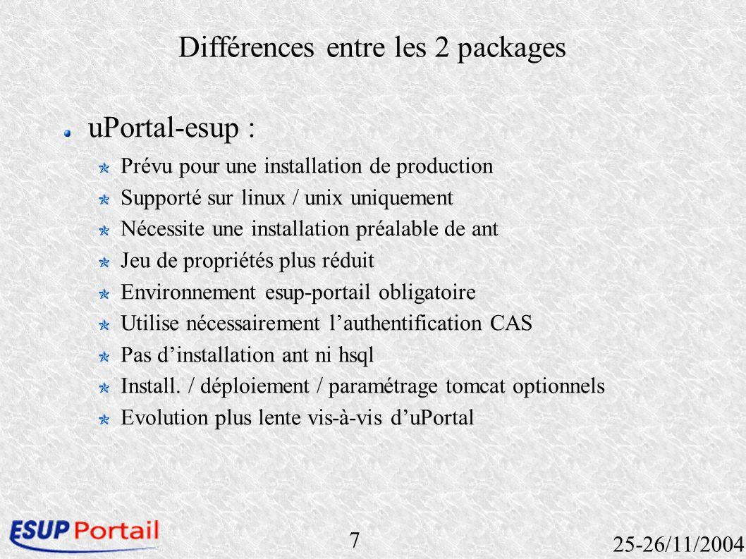 7 25-26/11/2004 Différences entre les 2 packages uPortal-esup : Prévu pour une installation de production Supporté sur linux / unix uniquement Nécessi