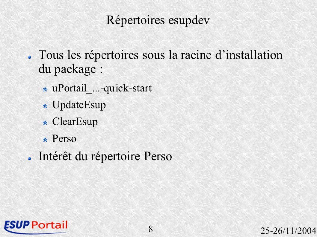 8 25-26/11/2004 Répertoires esupdev Tous les répertoires sous la racine dinstallation du package : uPortail_...-quick-start UpdateEsup ClearEsup Perso