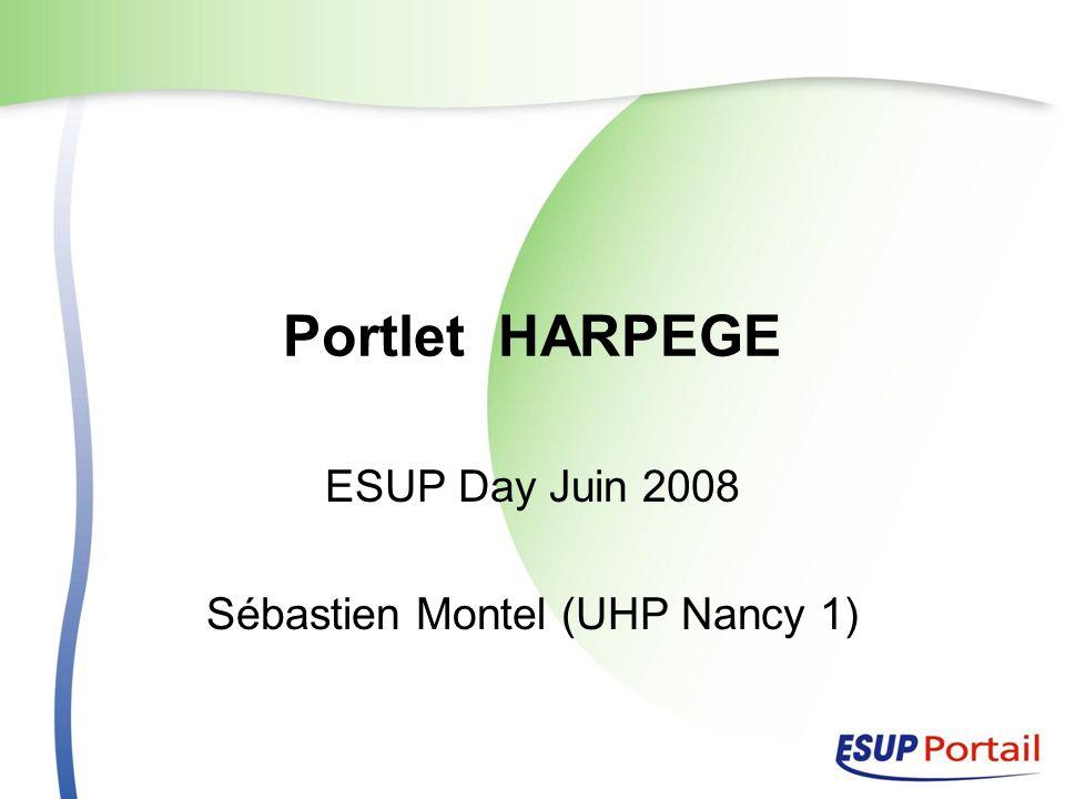 Portlet HARPEGE ESUP Day Juin 2008 Sébastien Montel (UHP Nancy 1)