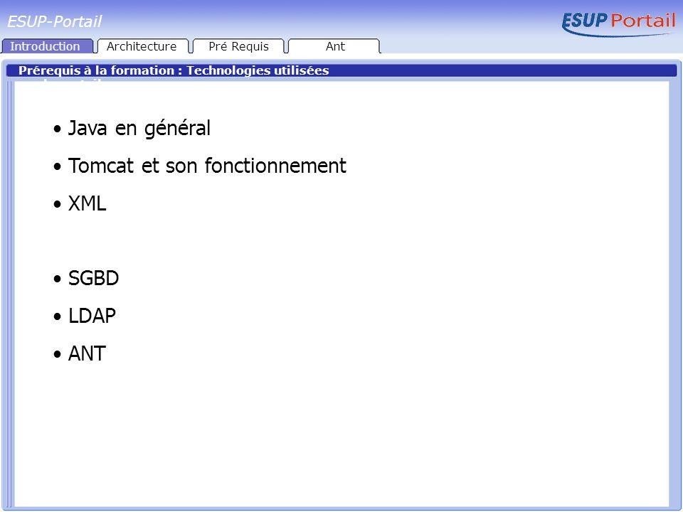 Le projet ESUP-Portail Produit développé par le consortium ESUP-Portail : Université de Valenciennes (coordinateur) Universités de Nancy 2, Nancy 1, Rennes 1, Toulouse 3 (développement + déploiement) Dans un premier temps, 10 Universités de déploiement Aujourd hui, près de 40 Universités ont fait le choix de ESUP Utilisation d un socle technologique existant : uPortal Produit collaboratif libre développé par JASIG Réalisé entièrement en Java Permet le développement de briques applicatives IntroductionArchitecturePré RequisAnt
