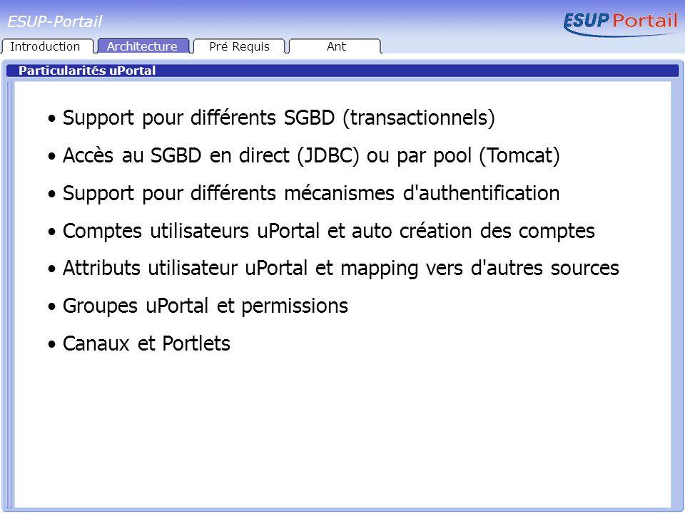 Particularités uPortal Support pour différents SGBD (transactionnels) Accès au SGBD en direct (JDBC) ou par pool (Tomcat) Support pour différents méca