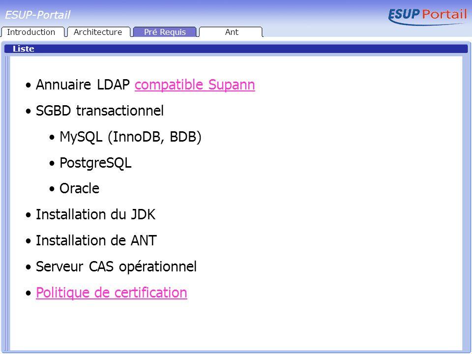 Loutil Équivalent de l outil make disponible sous Linux / UNIX Écris en Java multi plateformes Utilise un mécanisme de tâches (targets) interdépendantes Nombreuses fonctionnalités implémentées (structures de contrôle, expression régulières etc.) Possibilité de développer de nouvelles fonctionnalités (classes Java) S appuie sur un fichier de configuration XML (build.xml) Utilisation de fichiers de propriétés pour le paramétrage ESUP-Portail IntroductionArchitecturePré RequisAnt