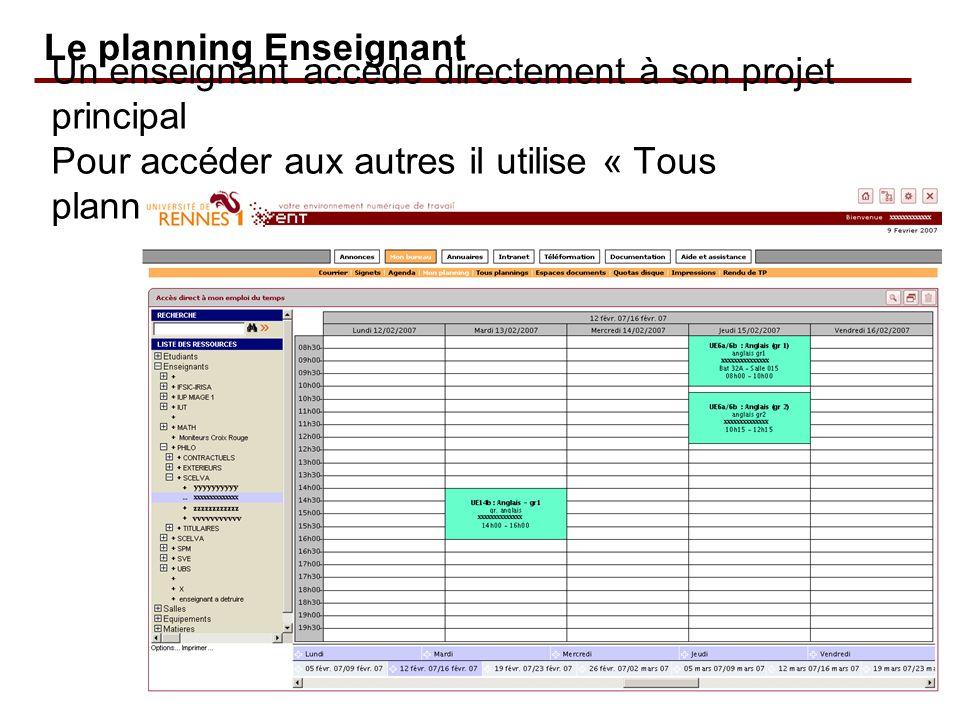 Un enseignant accède directement à son projet principal Pour accéder aux autres il utilise « Tous plannings » Le planning Enseignant