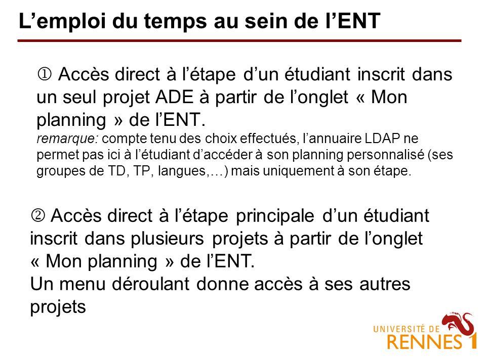 Accès direct à létape dun étudiant inscrit dans un seul projet ADE à partir de longlet « Mon planning » de lENT.