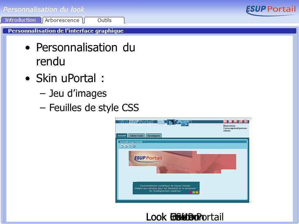 Personnalisation du look Personnalisation de l'interface graphique Look im+m Personnalisation du rendu Skin uPortal : –Jeu dimages –Feuilles de style
