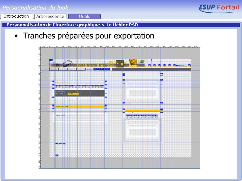 Personnalisation du look Personnalisation de l'interface graphique > Le fichier PSD Tranches préparées pour exportation Outils Introduction Arborescen