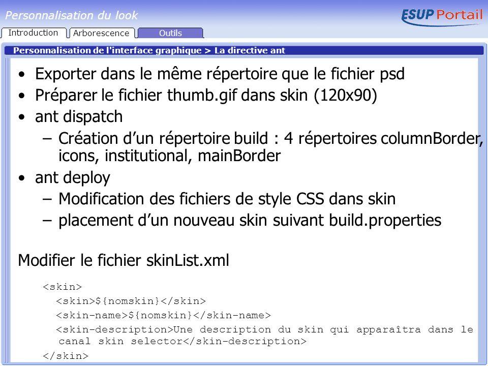 Personnalisation du look Personnalisation de l'interface graphique > La directive ant Exporter dans le même répertoire que le fichier psd Préparer le