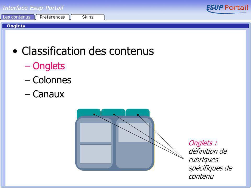 Interface Esup-Portail Onglets Classification des contenus –Onglets –Colonnes –Canaux Onglets : définition de rubriques spécifiques de contenu Les contenusPréférencesSkins
