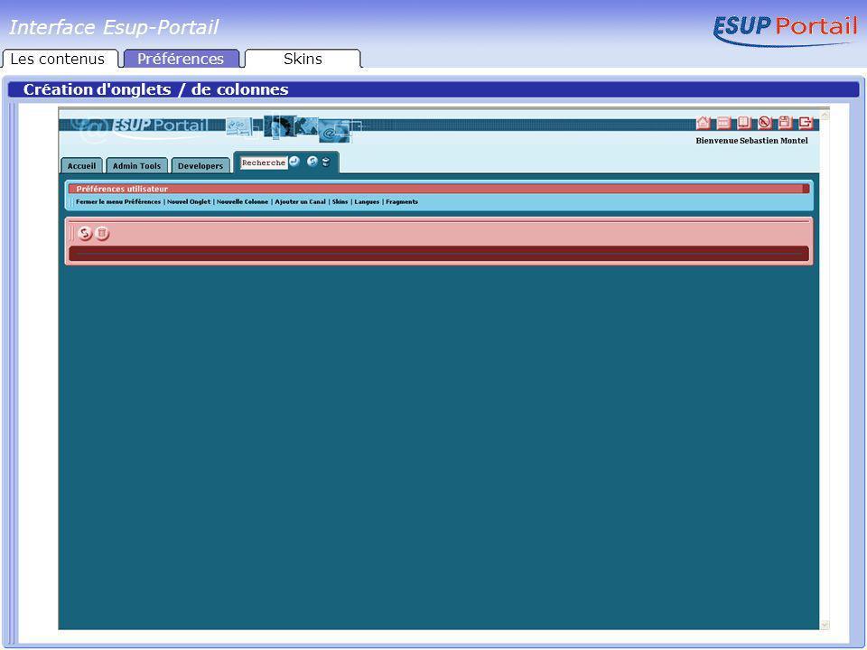 Interface Esup-Portail Ajout de canaux Les contenusPréférencesSkins