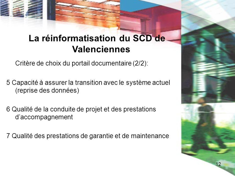 12 La réinformatisation du SCD de Valenciennes Critère de choix du portail documentaire (2/2): 5 Capacité à assurer la transition avec le système actu