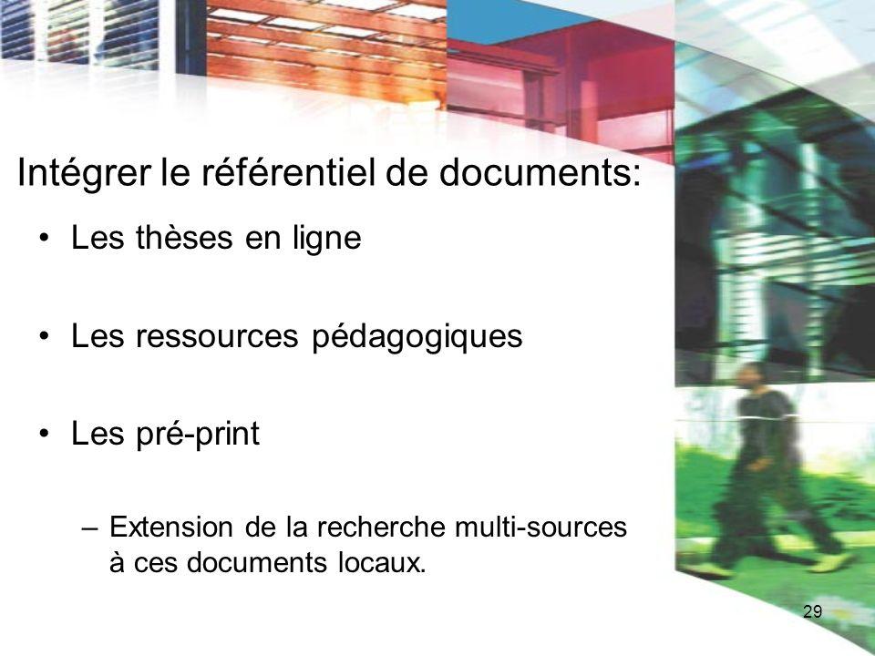 29 Intégrer le référentiel de documents: Les thèses en ligne Les ressources pédagogiques Les pré-print –Extension de la recherche multi-sources à ces