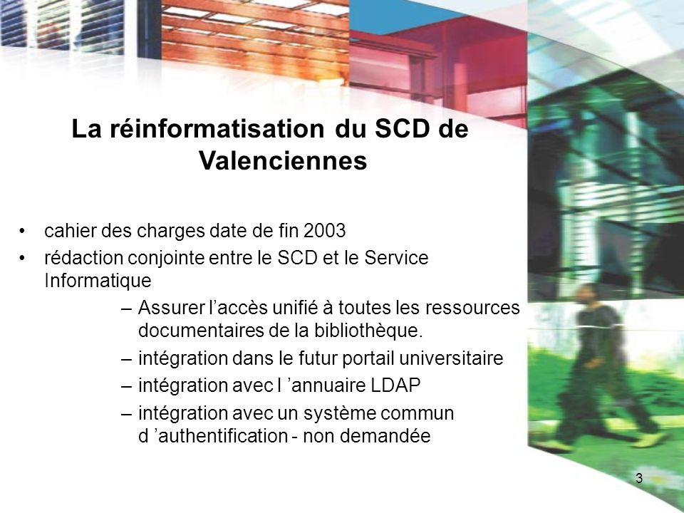 4 La réinformatisation du SCD de Valenciennes Pour permettre lintégration dans le portail universitaire à venir: on impose la fourniture des fonctionnalités sous forme de web services.